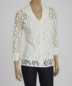 Look what I found on #zulily! White Circle Button-Up Jacket & Tank by Rafael #zulilyfinds