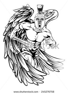 Buy Angel Mascot by Krisdog on GraphicRiver. An illustration of a warrior angel character or sports mascot in a trojan or Spartan style helmet holding a sword and. Back Tattoos, Body Art Tattoos, New Tattoos, Cool Tattoos, Archangel Michael Tattoo, Mangas Tattoo, Spartan Tattoo, Angel Illustration, Warrior Tattoos