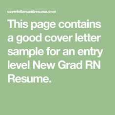 new graduate rn cover letter
