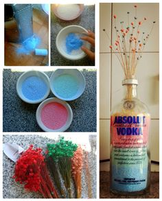 Coarse salt, chalk, flowers, bottle, done. #dyi #home #house #chalk #proyect #bottles #craft #cute #colors