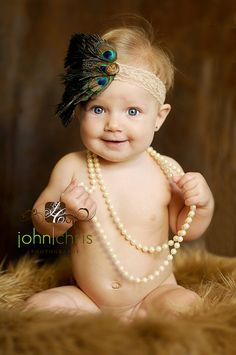 Babies with pearls. :) so cute!