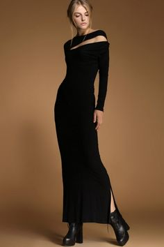 Graceful Cutout Long Sleeve Dress OASAP.com