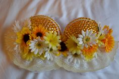 Flowered Daisy and Rhinstone 34D Rave Bra EDC Bra