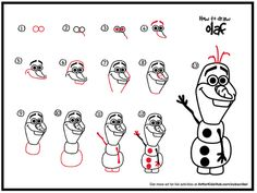 """Directed drawing activity -- Olaf the Snowman (""""Frozen"""")"""