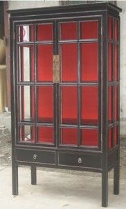 Chinese Antique Furniture Glass Display Cabinet Lwa546