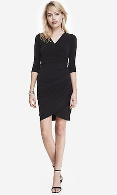 SURPLICE WRAP DRESS WITH SIDE PLEATING