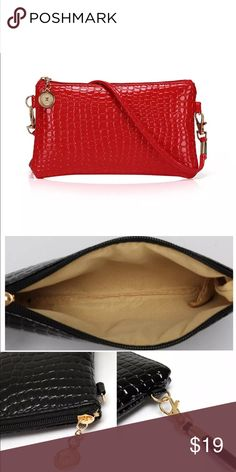 Cute Mini Crossbody SnakeSkn Vegan Leather Bag Red Red New Pic 2 shows inside and size.  Fits iPhone 6plus w/o case Fits iPhone 5,6,7,8 regular sizes Fits you small must haves on the go Make up lip gloss pen mirror etc.  Super cute great as a gift H.O.P. Bags Mini Bags
