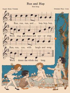 Run and hop | The Music Hour, First Book edited by Osbourne … | Flickr Vintage Ephemera, Vintage Cards, Feeling Special, Music Notes, Nursery Rhymes, Kite, Lovers Art, Childrens Books, Illustrators