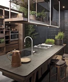"you must read full article to get the proper inspiration to decorate and design your Industrial Kitchen Design. So Checkout Inspirational Industrial Kitchen Design And Ideas"" Stylish Kitchen, New Kitchen, Kitchen Dining, Kitchen Decor, Kitchen Ideas, Natural Kitchen, Rustic Kitchen, Smart Kitchen, Earthy Kitchen"
