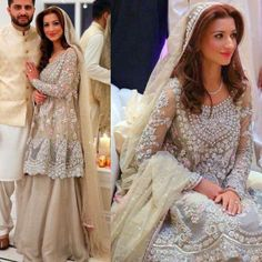 """""""This gorgeous Nikkah Bride in #MinaHasan looks absolutely ravishing!!! Kiran chose a fresh young look to go with this ethereal silver sparkling outfit for…"""""""