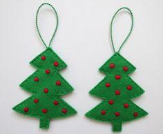 Embroidered felt Christmas tree ornaments