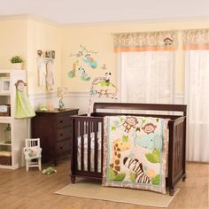 Safari Baby Rooms : Baby Room Decoration With Dark Brown Wooden Bed Frame And Safari Bedding Also Blanket Theme Complete With Dark Brown Cabinet Table Designed With Drawers Also White Shelf And Long White Curtains Plus Brown Rug On The Brown Wood Floor