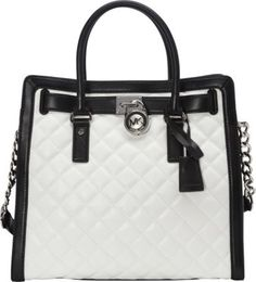 MICHAEL Michael Kors Hamilton Quilted NS Tote Optic White/Black - via eBags.com!