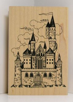 Old Fairytale CASTLE Rubber Stamp by PollysPlace on Etsy