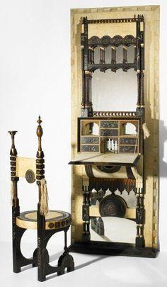 CARLO BUGATTI wall-mounted secretary and chair