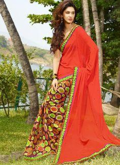 Printed Orange #Georgette & #Chiffon #Saree