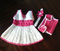 Handmade little girl baby set ( dress, diaper cover & headband) available in all sizes with a refund for smaller sizes