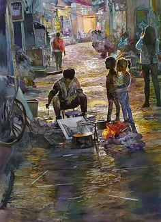 By John Salminen Watercolor Title: The Critics Original Dimensions #painting