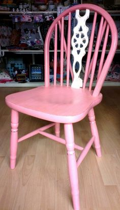 Farm House Wheel Chair painted in Salmon Pink & Old White