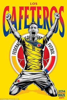 Monaco player James Rodriguez celebrates in Colombia's World Cup poster...