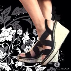 Black wedge Slips on. Not too high, comfortable wedges size 8-9 Shoes Wedges