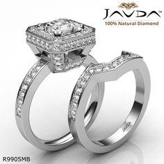 Basket Halo Pave Bridal Set Princess Diamond Engagement Ring 14k White Gold.