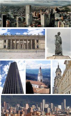 Santafé de Bogotá, Colombia Fachada, Capitolio, Edifice Colpatria de Dia Santuario de Monserrate, Bogota, Catedral Primada de Bogota, Estatua de la plaza de Bogota, Dvar en Bogota Septema street colbo