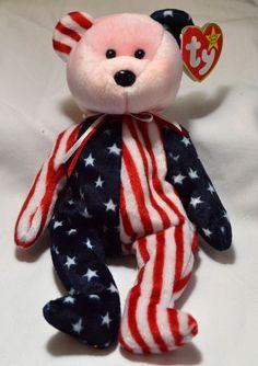 MWMT Ty Beanie Baby Spangle Patriotic Bear Blue Head 1999