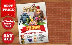 This Instant Downloadable is for a Clash of Clans Birthday Invitation Template in Photoshop (PSD).