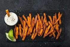 Sweet fries with a touch of fiery smokiness… For those that love sweet potato fries, it's a ton of fun to pair them with fiery flavors. The sweetness here is one of those perfect foils for spicy spices And then . Raw Vegan Recipes, Spicy Recipes, Gourmet Recipes, New Recipes, Favorite Recipes, Spicy Spice, Chipotle Pepper, Home Chef, Food Industry