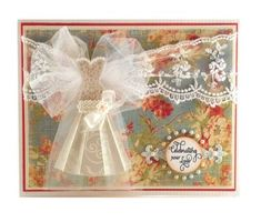 Wedding card designed by Darsie Bruno using Ooh La La French Frills stamps and Ever After Antique Labels Stamps.