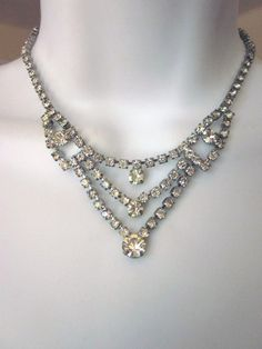 Vintage Rhinestone Necklace Bridal Jewelry by JeepersKeepers, $38.00