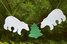 Kids garland Felt nursery polar bear ornament Kids banner Nursery decor Bunting This felted polar bear garland is just perfect for hanging in nursery room. It will look sweet where ever you choose to hang it. It made from thick wool felt.