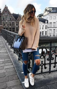 """ecstasymodels: """"Fall Knit SweaterTopShop Moto Jeans , Valentino Rockstud Sneakers , Marc Jacobs Sunglasses Fashion Look by Zorannah """""""