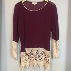 Boho purple and ivory lace trimmed top Purple top with ivory lace trim.  NWOT. So cute with jeans or shorts. Tops