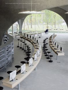 Tama Art University Library by Toyo Ito. An arc could sit a few more pax for the conference/training room.