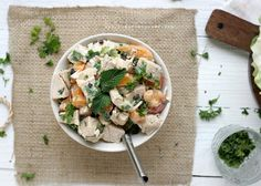Peaches & Cream Chicken Salad W/Currants, Parsley & Mint