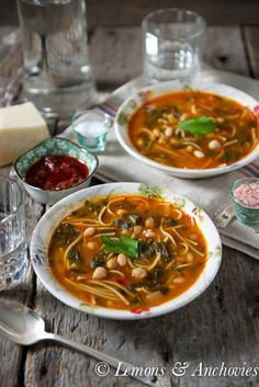 Hlelem, a Tunisian Vegetable & Bean Soup. Goes from stovetop to table very quickly but has loads of long-simmered flavor. Healthy Food List, Healthy Eating, Healthy Recipes, Vegetarian Recipes, Yummy Recipes, Soup Beans, Bean Soup, Soup Recipes, Cooking Recipes