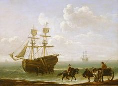 A Beached Collier Unloading into Carts by Julius Caesar Ibbetson - circa 1790