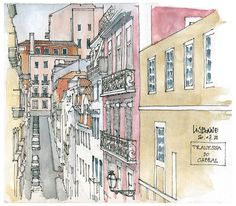 """Armed with pens and watercolors, urban sketchers from around the world spend three summer days drawing together in the picturesque Portuguese capital by the Tagus river. Building Sketch, Artist Journal, Architecture Drawings, Landscape Architecture, Urban Sketchers, Watercolor Sketch, Urban Landscape, Michel, Urban Art"