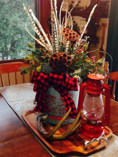 #Cabin Interiors ... #minnow bucket #arrangement #tablescape #cabin #decor #lantern
