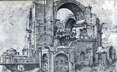 101119 - St. Peter's under construction in 1536 by Maerten van Heemskerk