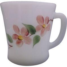 Gay Fad Peach Blossom Fire-King D Handle Mug Milk Glass