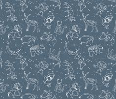 Origami Constellation - Paynes Grey by Andrea Lauren  fabric by andrea_lauren on Spoonflower - custom fabric