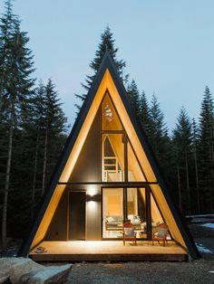 A Frame Cabin, A Frame House, Log Home Plans, House Plans, Villa Del Carbon, Cabin Design, House Design, Residential Log Cabins, Contemporary Cabin