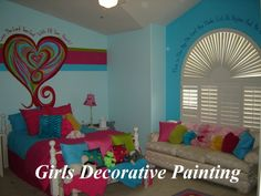 Girls Decorative Wall Painting: Painting Stripes On Walls, Painting Ideas For A Kids Room, Kitchen Painting Ideas Teenage Girl Bedrooms, Little Girl Rooms, Girls Bedroom, Bedroom Ideas, Bed Ideas, Painting Stripes On Walls, Painting Walls, Faux Painting, Painting Tips