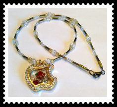 Beautiful Once Upon A Time Gold Living Locket Snow White Red Apple Bow and Arrow Floating Charms by curiosaart on Etsy