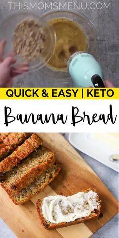 Keto Banana Bread, Keto Bread, Bread Baking, Keto Postres, Desserts Keto, Quick Keto Breakfast, Breakfast Ideas, Breakfast On A Diet, Keto Snacks