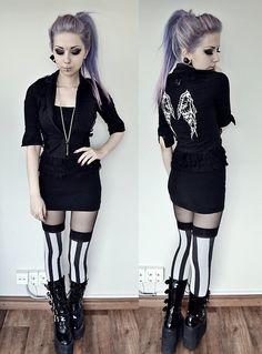 Killer Cat Shirt, H&M Top, Morticia Stockings, Demonia Swing 220 Boots