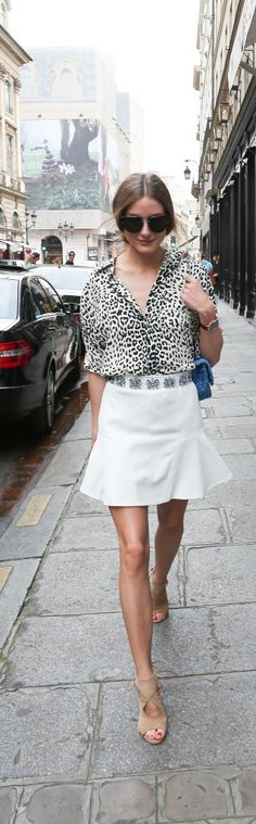 Olivia Palermo in animal print blouse  - inspiration via blossomgraphicdesign.com #boutiquedesign